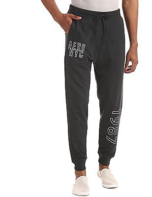 Aeropostale Grey Drawstring Waist Heathered Joggers