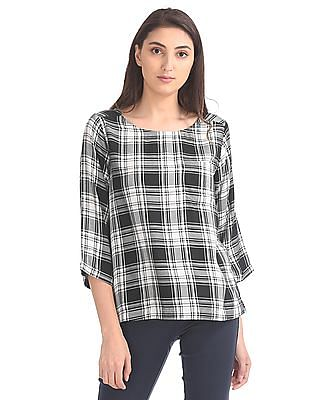 Cherokee Checked Monochrome Top