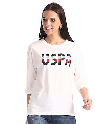 U.S. Polo Assn. Women White Printed Branding Boxy T-Shirt