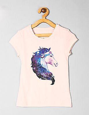 GAP Pink Girls Graphic Short Sleeve T-Shirt