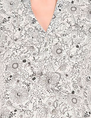 Cherokee Floral Printed High Low Hem Top
