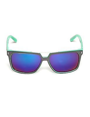 Flying Machine Green Textured Square Frame Sunglasses