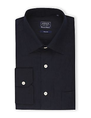 Arrow Blue French Placket Linen Shirt