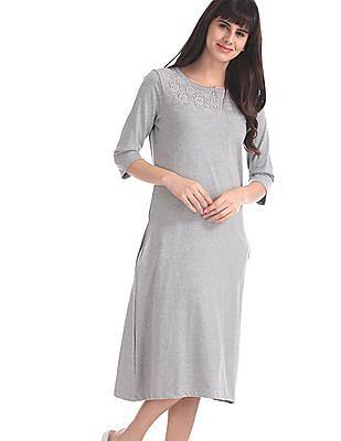 SUGR Grey Lace Yoke T-Shirt Dress