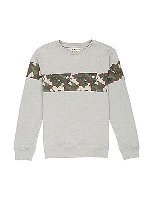 FM Boys Boys Camo Print Panel Sweatshirt