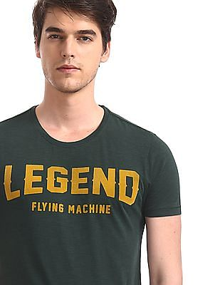 Flying Machine Green Crew Neck Slub Knit T-Shirt