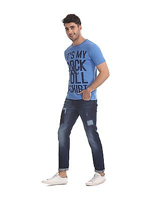 Flying Machine Blue Jackson Skinny Fit Whiskered Jeans