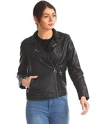 Flying Machine Women Panelled Biker Jacket