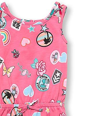 The Children's Place Toddler Girl Sleeveless Patch Print Romper