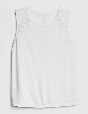 GAP Lace-Insert Tank Top in Linen