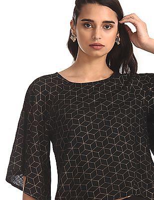 Bronz Black Flared Sleeve Geometric Print Top