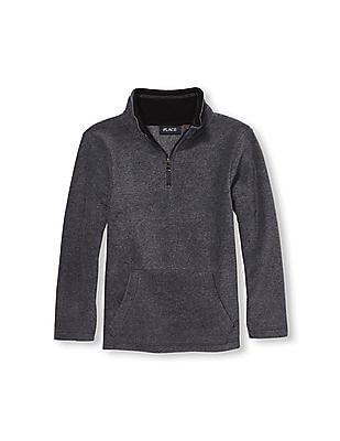 The Children's Place Boys Long Sleeve Solid Half-Zip Mock Neck Glacier Fleece Pullover