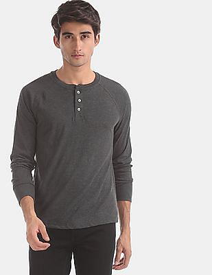 GAP Grey Long Sleeve Marled Henley T-Shirt