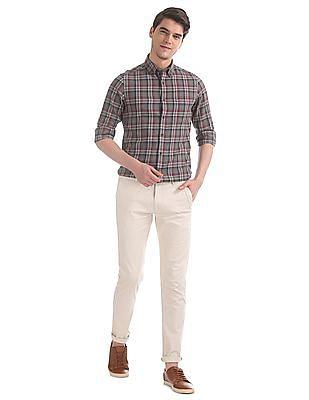 Arrow Sports Grey Slim Fit Cotton Shirt