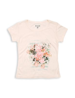 Elle Kids Girls Floral Print Regular Fit T-Shirt