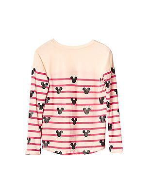 GAP Girls White Disney Mickey Mouse And Stripes High Low Tee