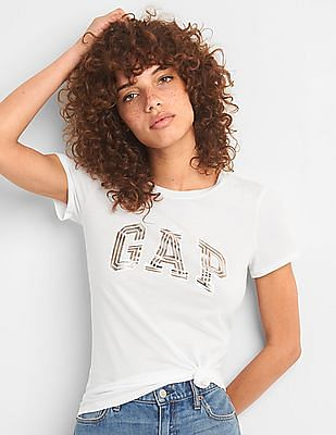 GAP Metallic Logo Short Sleeve Crew Neck T-Shirt