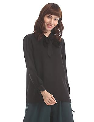 Elle Studio Black Pussy Bow Boxy Top