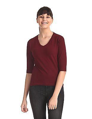 Flying Machine Women Red 3/4Th Sleeve V-Neck T-Shirt