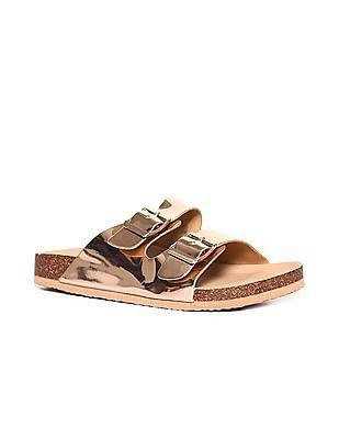 Stride Gold Dual Buckle Strap Metallic Sandals