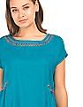 Bronz Embroidered Neck Boxy Top