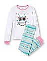 The Children's Place Girls Long Sleeve Owl Graphic Top And Fair Isle Print Pants PJ Set