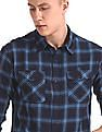 Roots by Ruggers Blue Contemporary Regular Fit Check Shirt