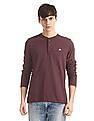 Aeropostale Purple Long Sleeve Henley T-Shirt