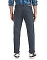 Ruggers Blue Flat Front Solid Trousers