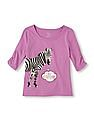 The Children's Place Girls Elbow Sleeve Graphic Top
