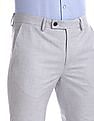 Arrow Grey Slim Fit Solid Trousers
