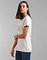 GAP Women Beige Short Sleeve Jewel Tee