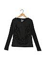 Flying Machine Women Round Neck Embossed Front Top