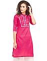 Karigari Embroidered Yoke Notched Neck Kurta