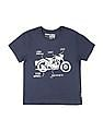 FM Boys Boys Round Neck Bike Print T-Shirt