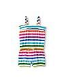 The Children's Place Toddler Girl Multi-Colour Sleeveless Striped Smocked Romper