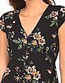Aeropostale Floral Printed V-Neck Fit And Flare Dress