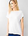 GAP Women White Fluid Hi-lo Tee