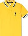 U.S. Polo Assn. Kids Yellow Boys Solid Pique Polo Shirt