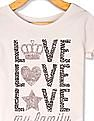 The Children's Place Beige Toddler Girl Crew Neck Glitter Print T-Shirt