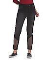 Flying Machine Women Skinny Fit Mesh Panelled Jeans