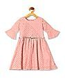 Cherokee Pink Girls Belted Fit And Flare Dress