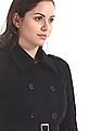 Elle Studio Black Double Breasted Wool Trench Coat