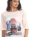 Flying Machine Women White Extended Shoulder Graphic Print T-Shirt
