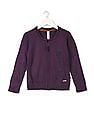 U.S. Polo Assn. Kids Girls Zip Up Front Embroidered Sweater