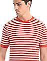 Cherokee Coral Red And White Crew Neck Striped T-Shirt